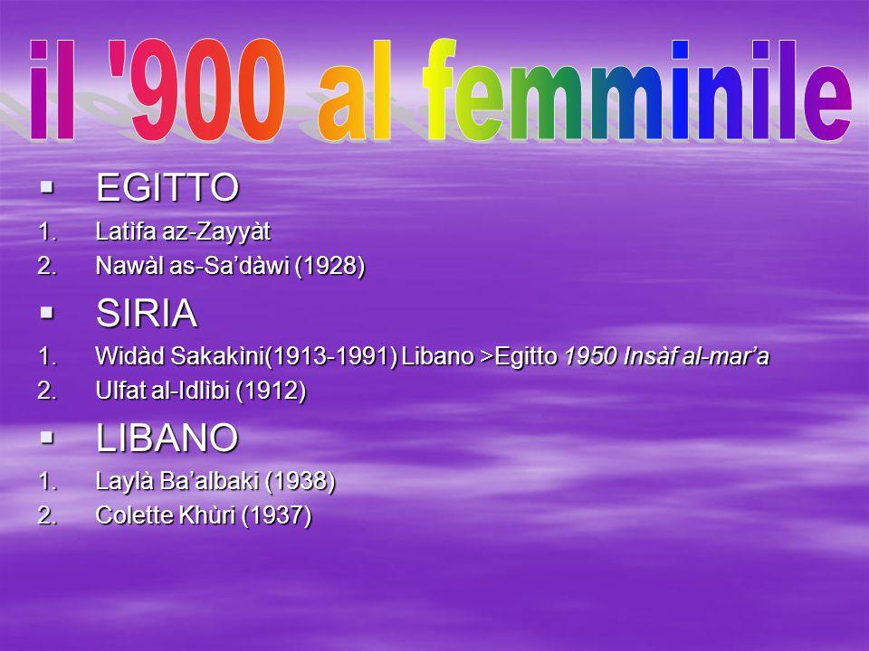 il 900 al femminile EGITTO SIRIA LIBANO Latìfa az-Zayyàt