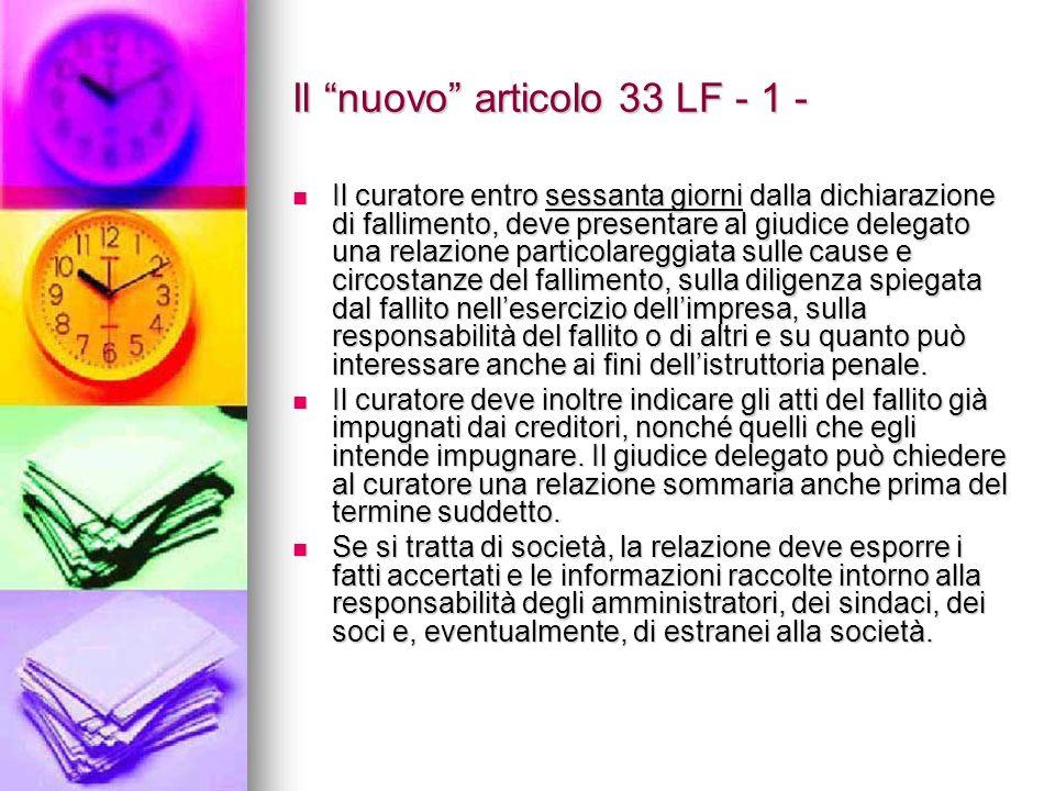 Il nuovo articolo 33 LF - 1 -