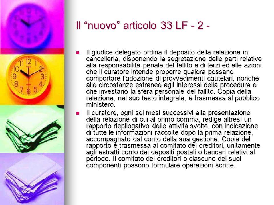 Il nuovo articolo 33 LF - 2 -