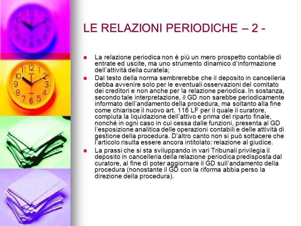 LE RELAZIONI PERIODICHE – 2 -