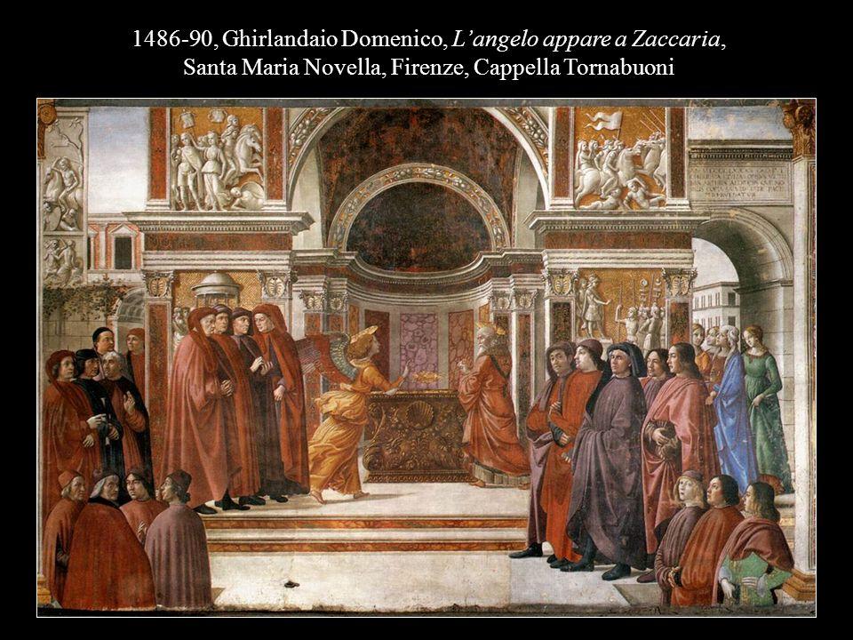 1486-90, Ghirlandaio Domenico, L'angelo appare a Zaccaria, Santa Maria Novella, Firenze, Cappella Tornabuoni