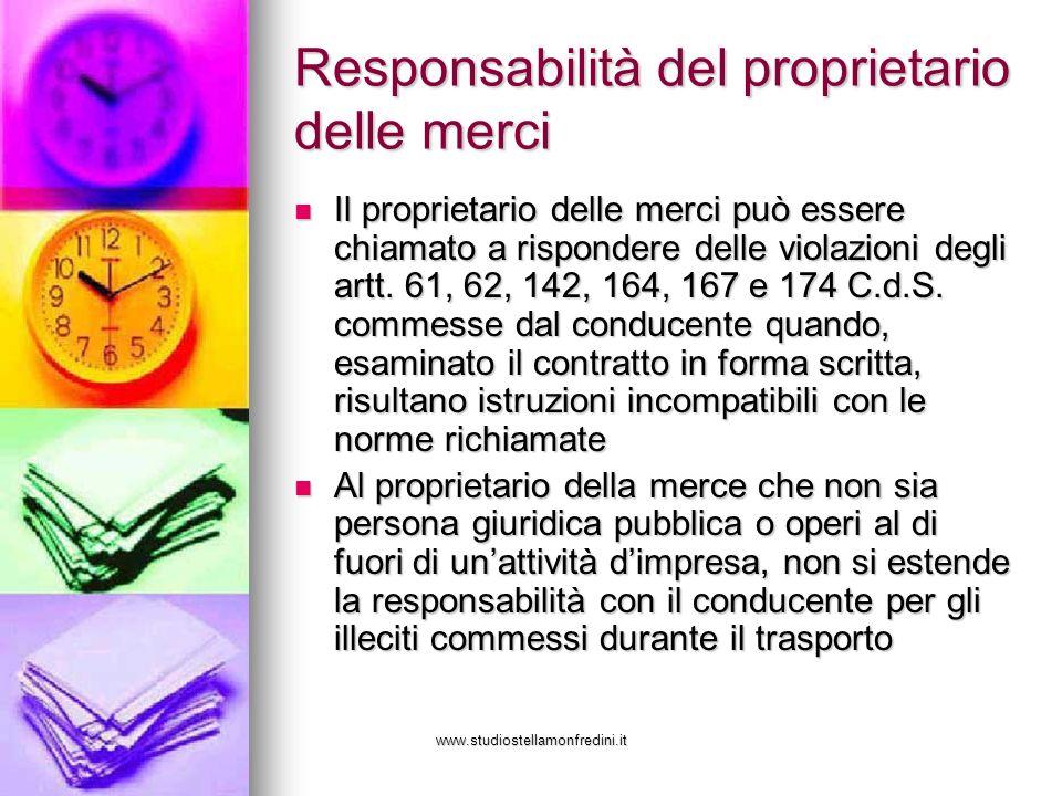 Responsabilità del proprietario delle merci