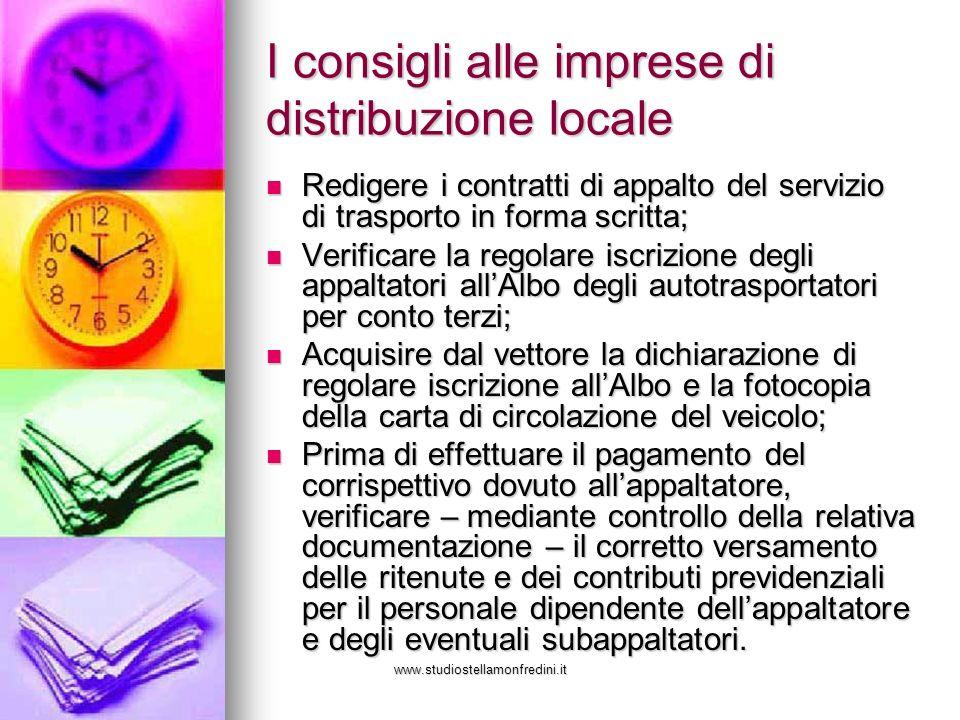 I consigli alle imprese di distribuzione locale