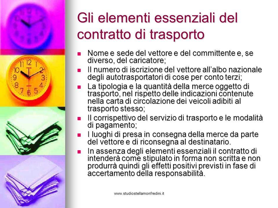 Gli elementi essenziali del contratto di trasporto
