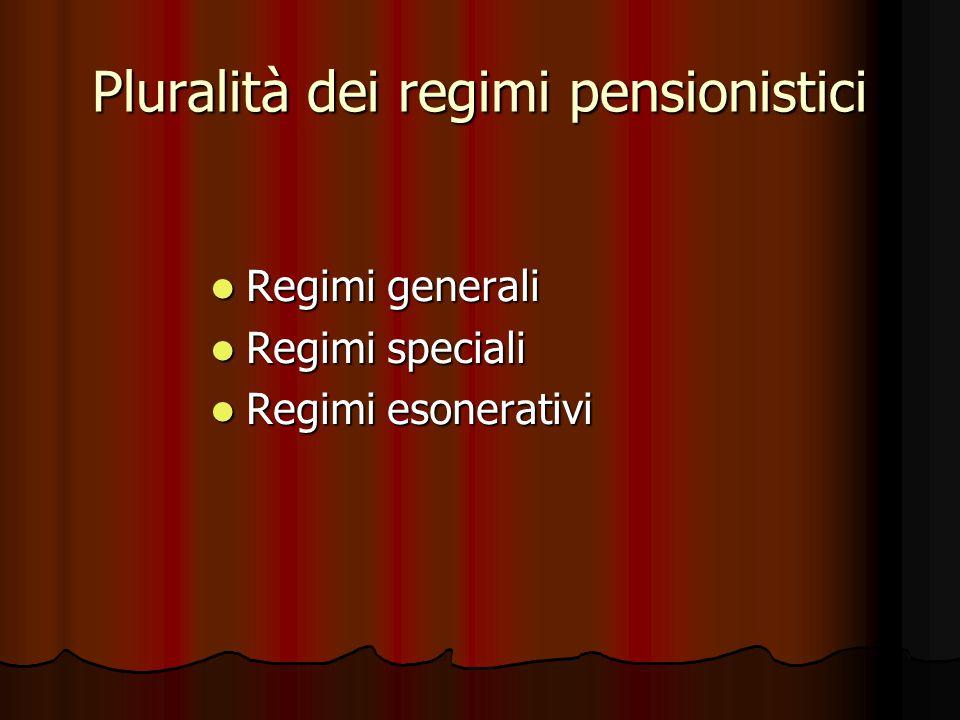 Pluralità dei regimi pensionistici