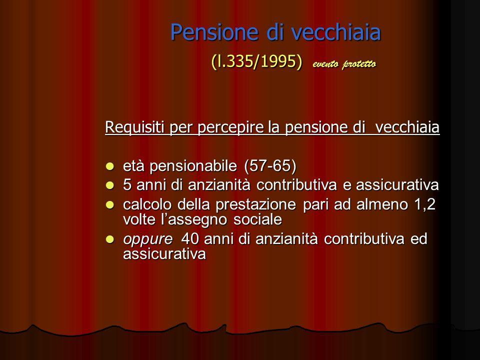 Pensione di vecchiaia (l.335/1995) evento protetto