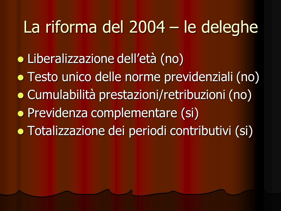 La riforma del 2004 – le deleghe