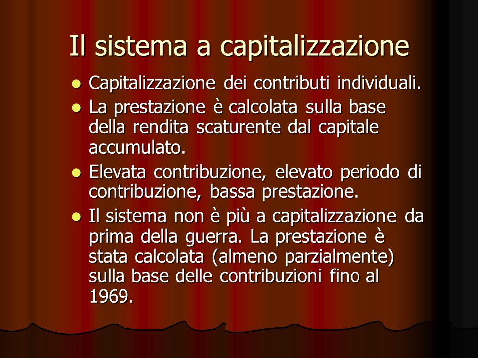 Il sistema a capitalizzazione