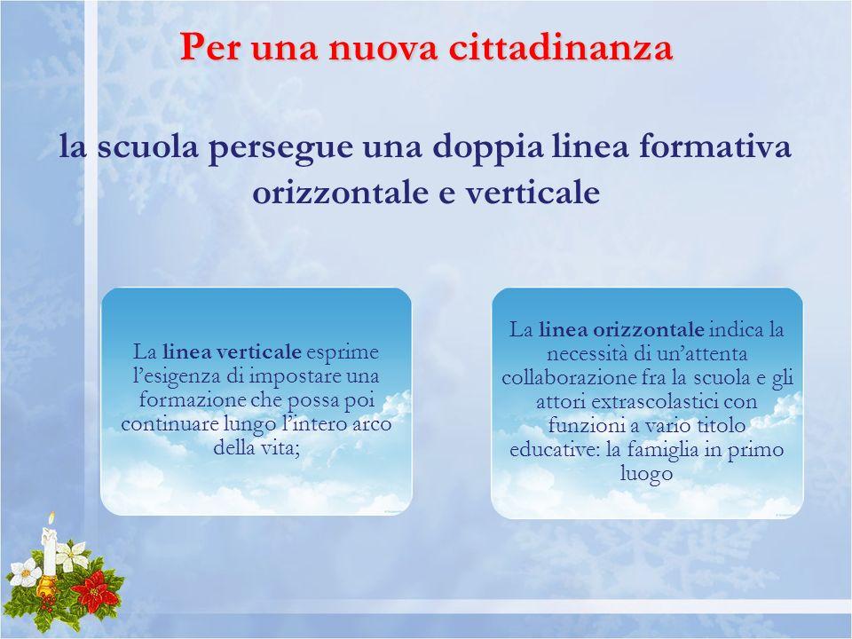 Per una nuova cittadinanza la scuola persegue una doppia linea formativa orizzontale e verticale
