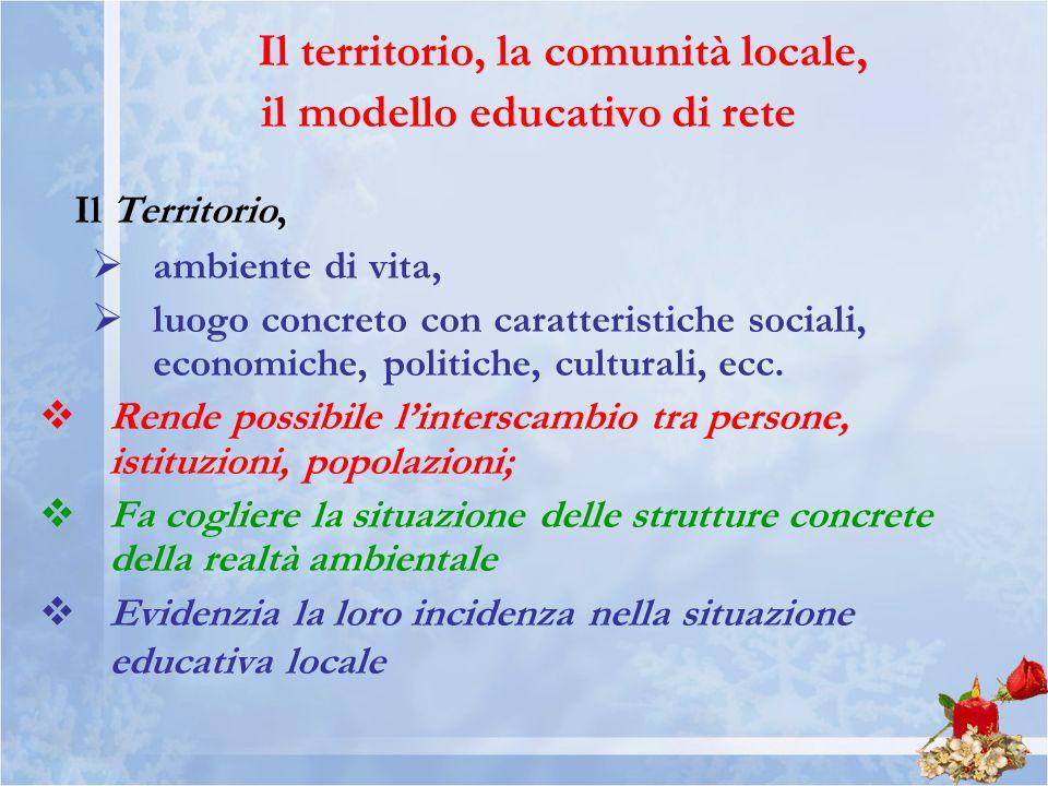 Il territorio, la comunità locale, il modello educativo di rete
