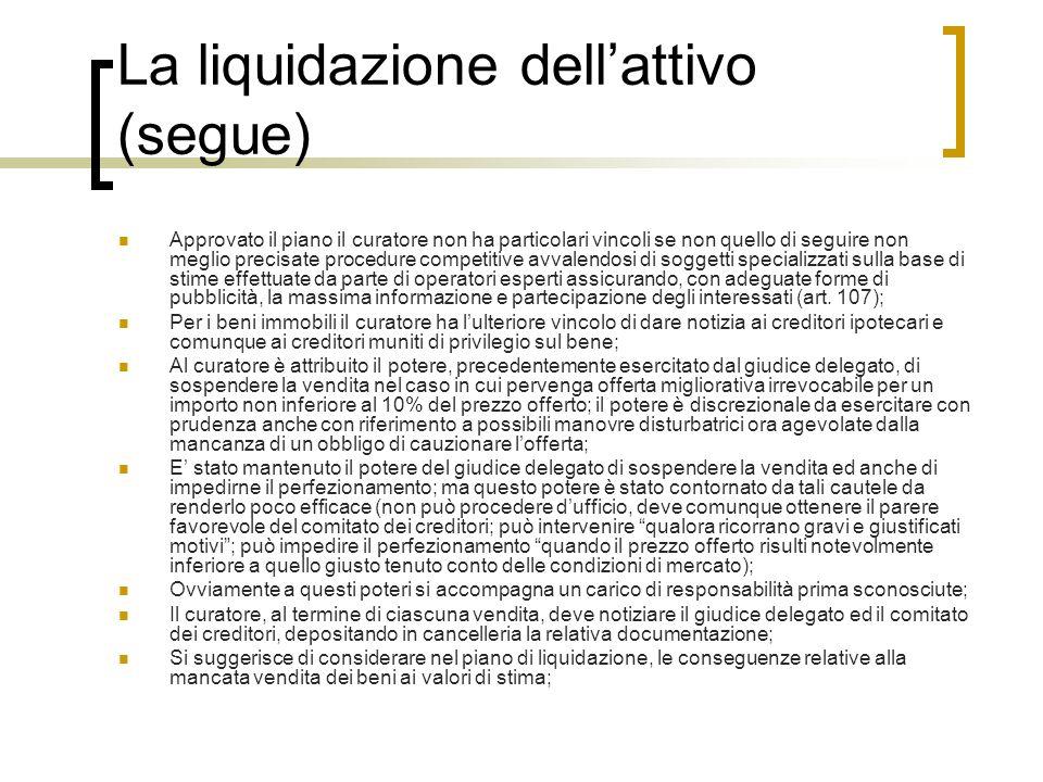 La liquidazione dell'attivo (segue)