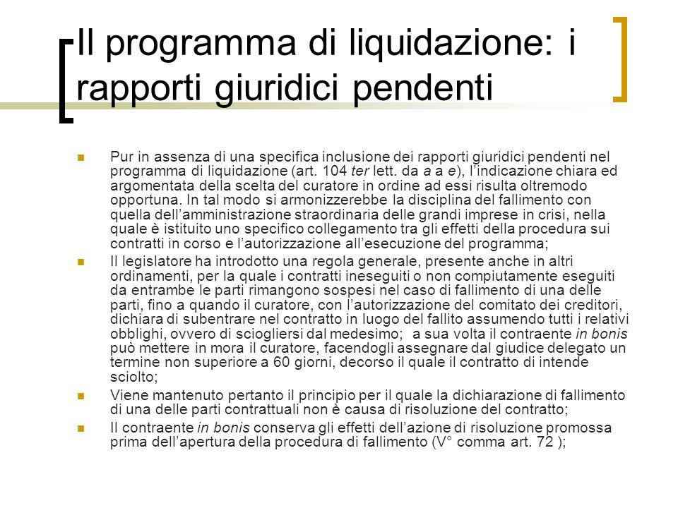 Il programma di liquidazione: i rapporti giuridici pendenti