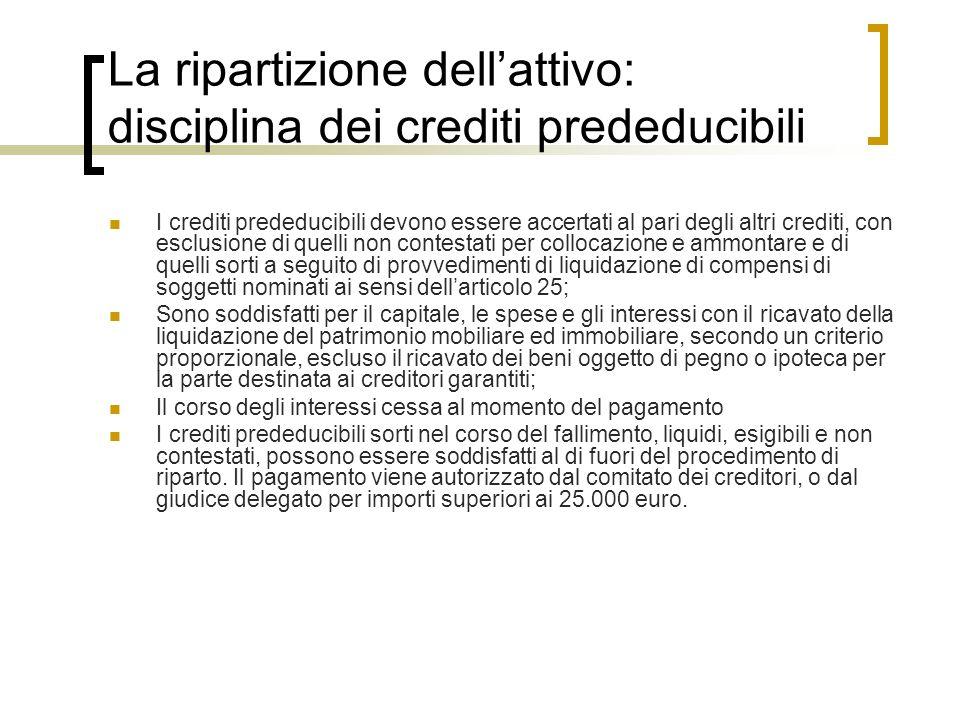La ripartizione dell'attivo: disciplina dei crediti prededucibili