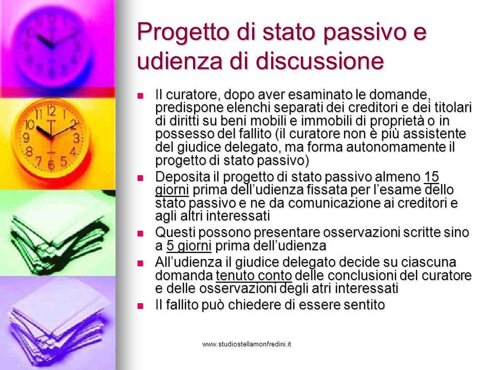 Progetto di stato passivo e udienza di discussione