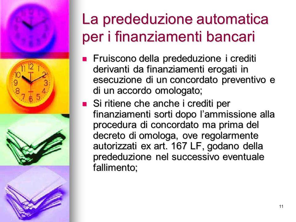La prededuzione automatica per i finanziamenti bancari