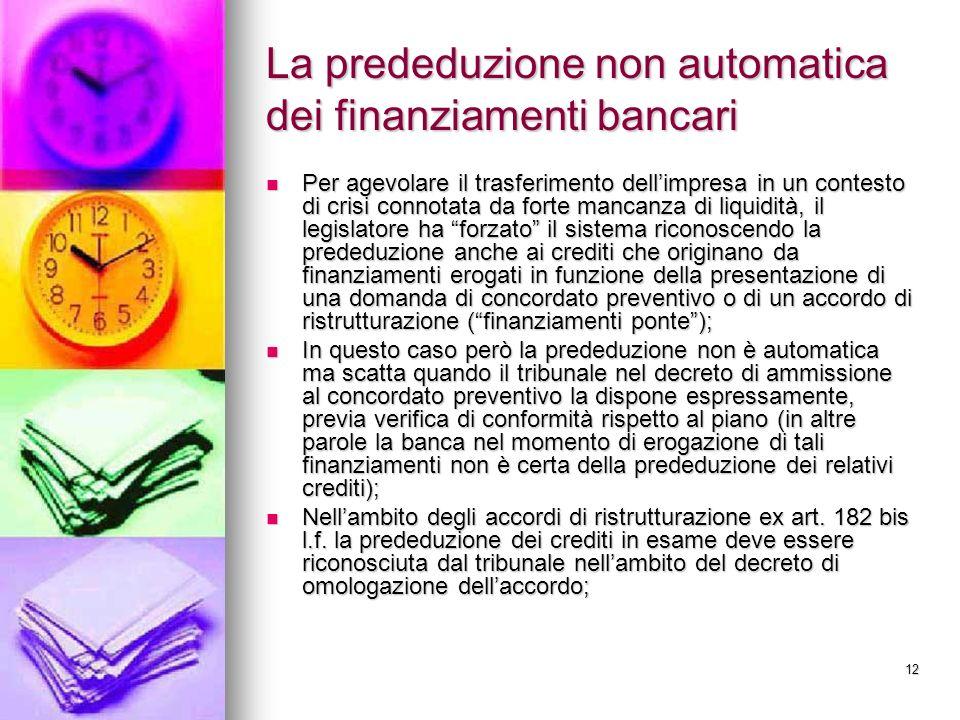 La prededuzione non automatica dei finanziamenti bancari