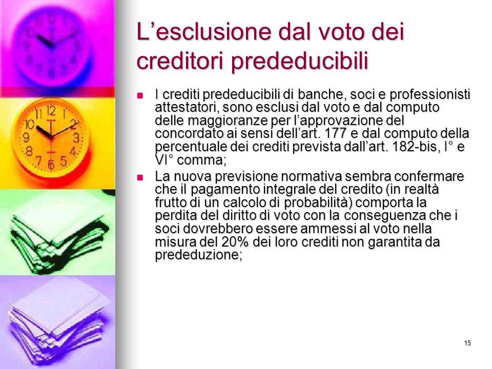 L'esclusione dal voto dei creditori prededucibili