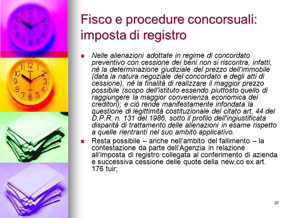 Fisco e procedure concorsuali: imposta di registro