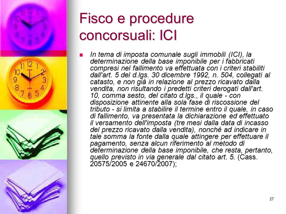 Fisco e procedure concorsuali: ICI