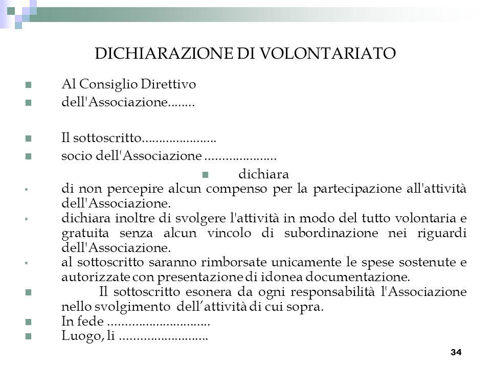 DICHIARAZIONE DI VOLONTARIATO