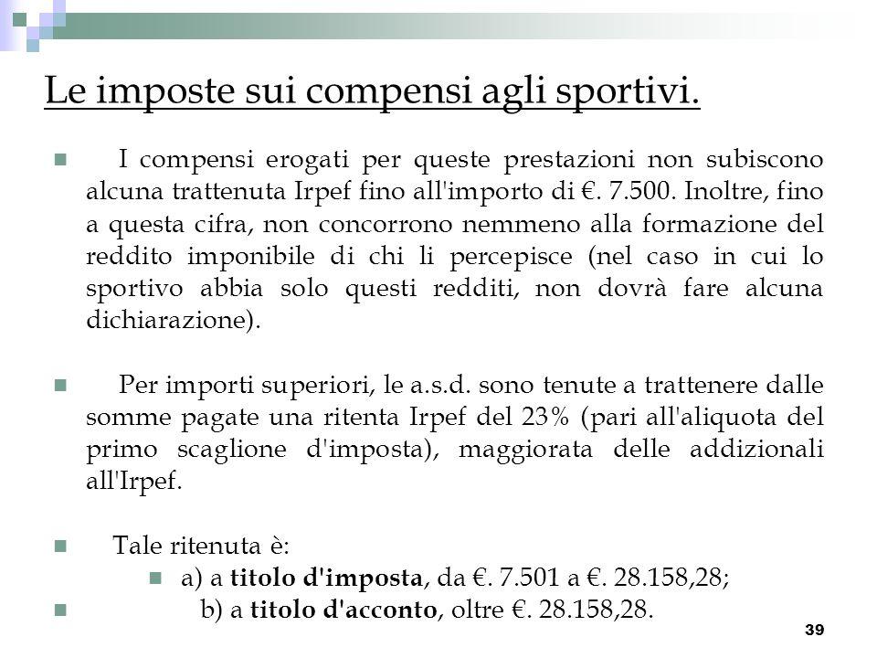 Le imposte sui compensi agli sportivi.