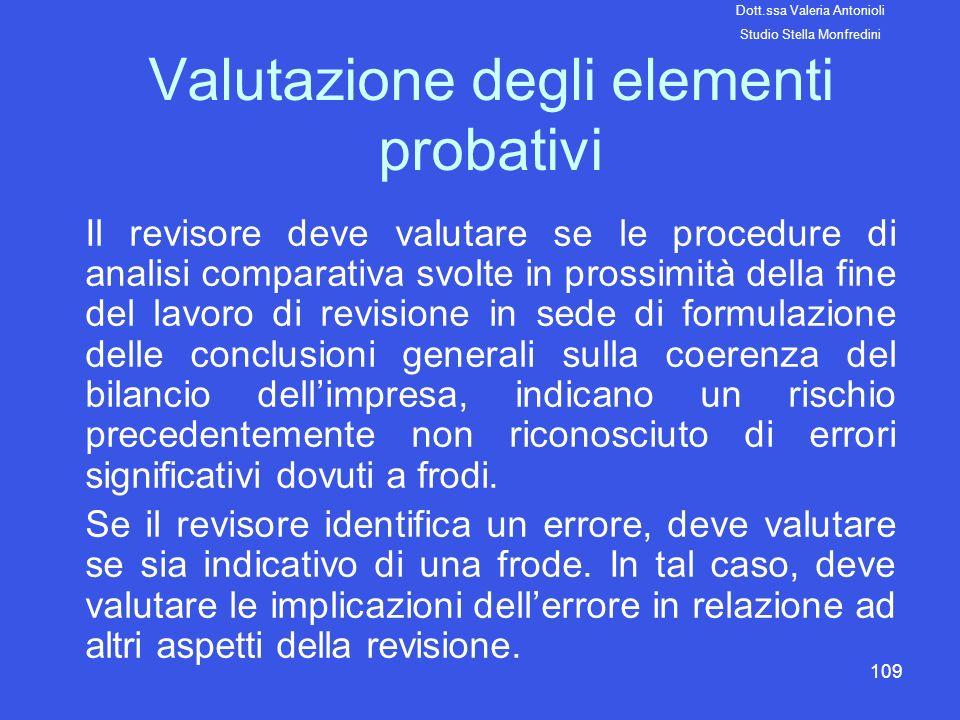 Valutazione degli elementi probativi