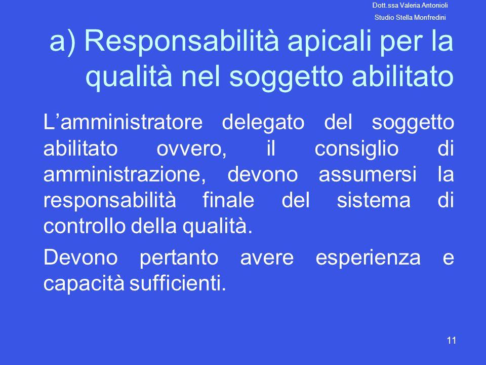 a) Responsabilità apicali per la qualità nel soggetto abilitato
