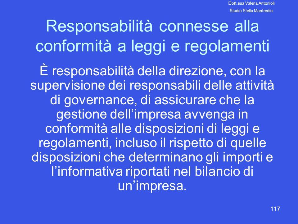 Responsabilità connesse alla conformità a leggi e regolamenti