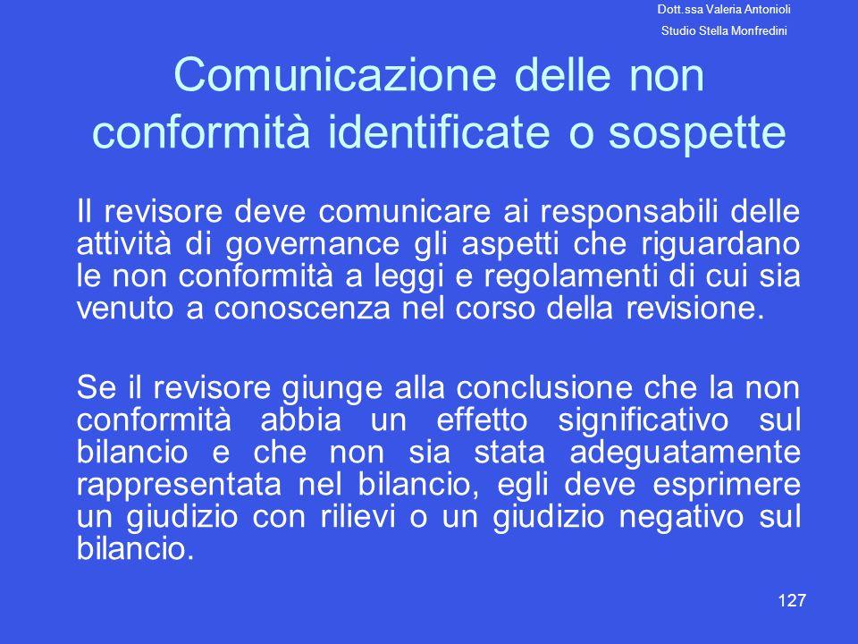 Comunicazione delle non conformità identificate o sospette