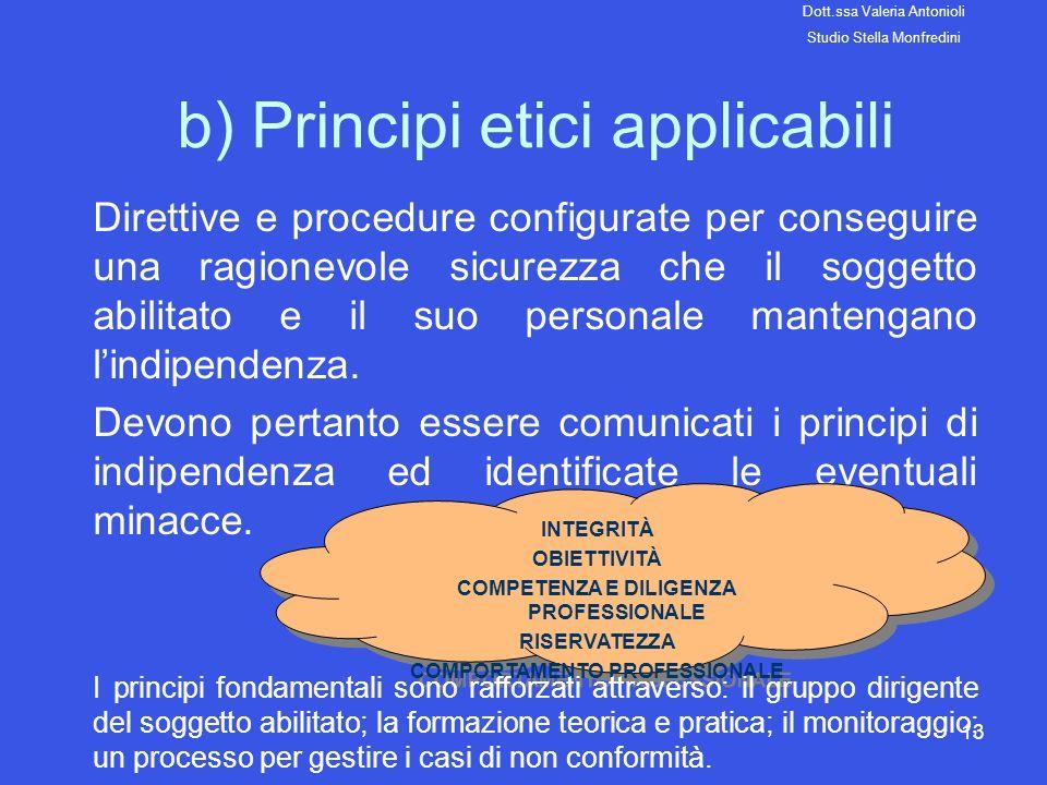 b) Principi etici applicabili