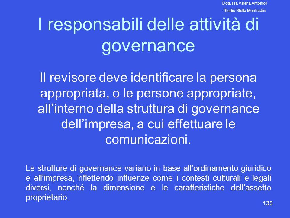 I responsabili delle attività di governance