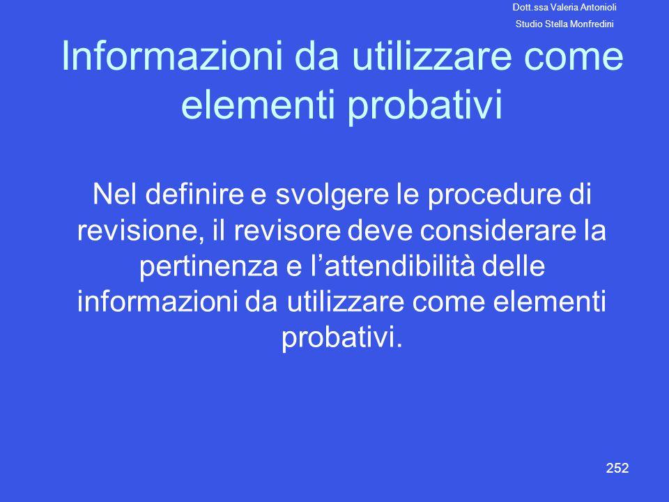 Informazioni da utilizzare come elementi probativi