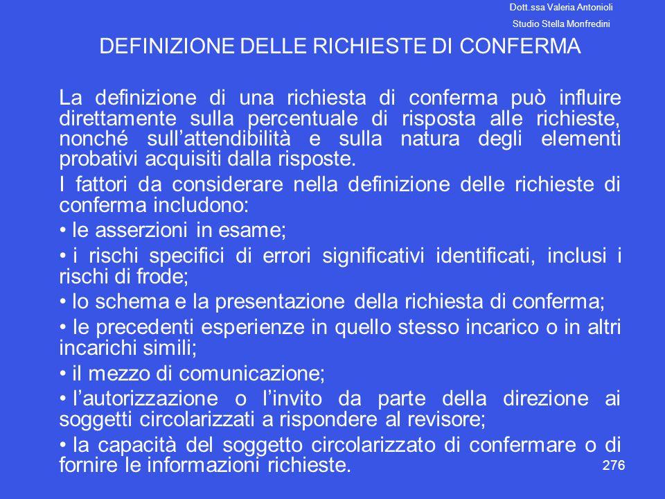 DEFINIZIONE DELLE RICHIESTE DI CONFERMA