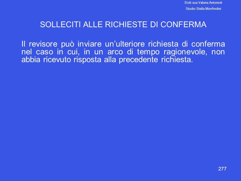 SOLLECITI ALLE RICHIESTE DI CONFERMA