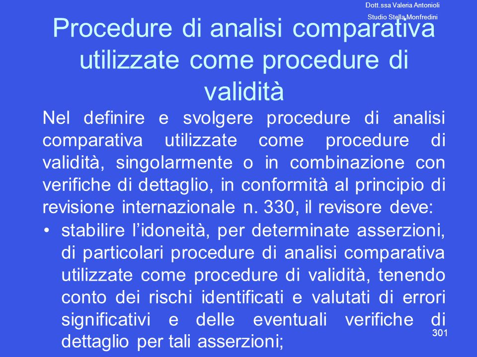 Procedure di analisi comparativa utilizzate come procedure di validità