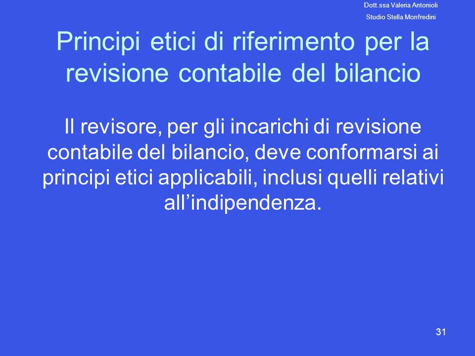 Principi etici di riferimento per la revisione contabile del bilancio