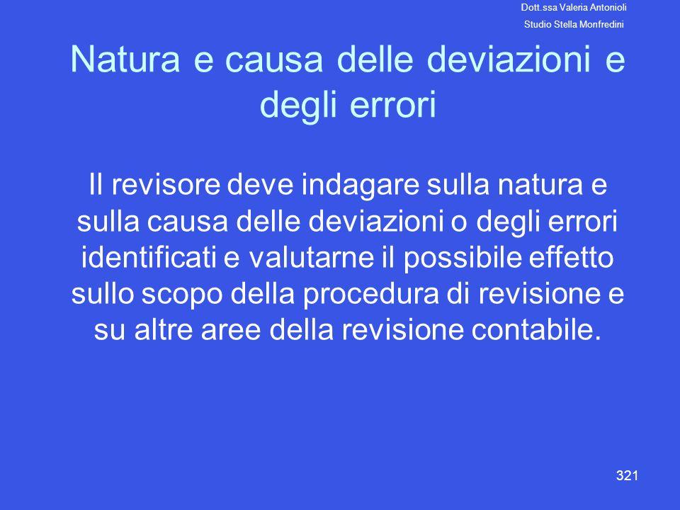 Natura e causa delle deviazioni e degli errori