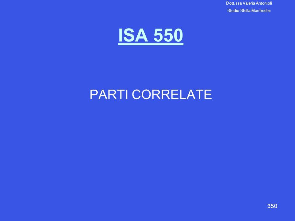ISA 550 PARTI CORRELATE Dott.ssa Valeria Antonioli