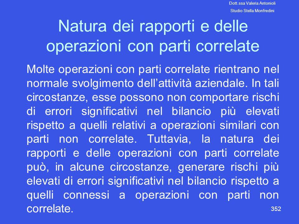 Natura dei rapporti e delle operazioni con parti correlate