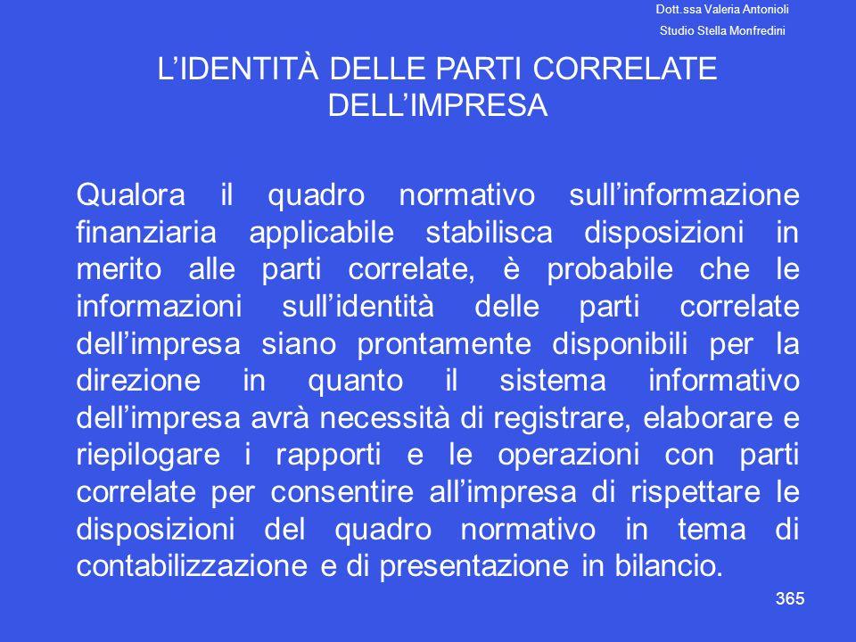 L'IDENTITÀ DELLE PARTI CORRELATE DELL'IMPRESA