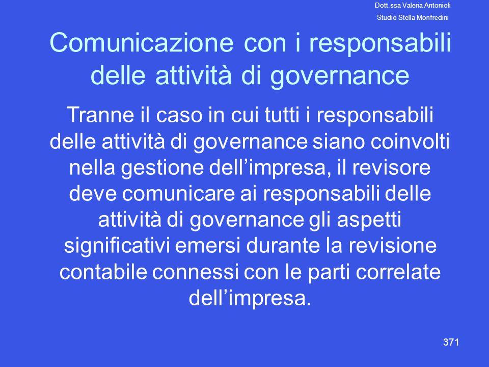 Comunicazione con i responsabili delle attività di governance
