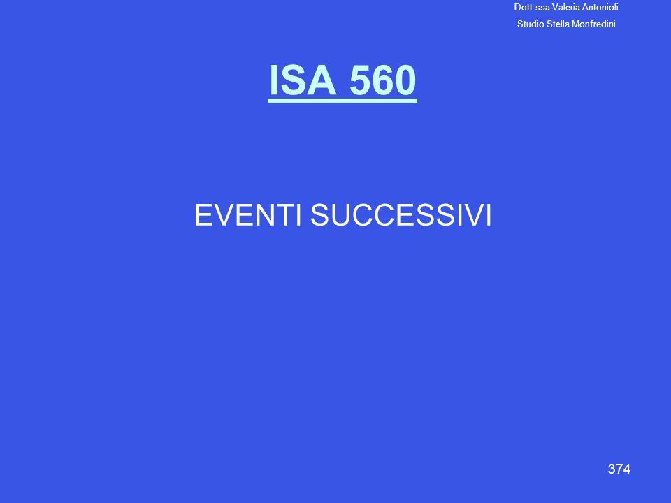 ISA 560 EVENTI SUCCESSIVI Dott.ssa Valeria Antonioli