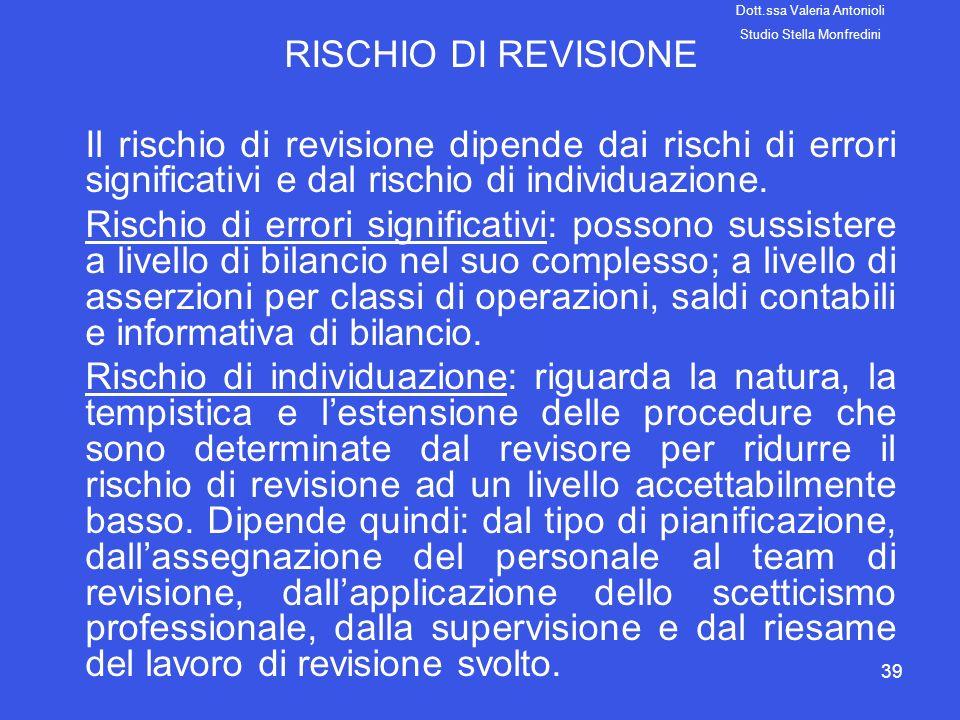 RISCHIO DI REVISIONE Il rischio di revisione dipende dai rischi di errori significativi e dal rischio di individuazione.