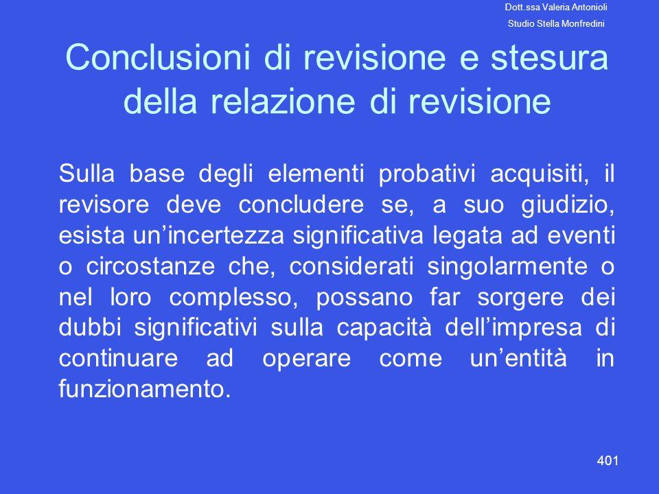 Conclusioni di revisione e stesura della relazione di revisione