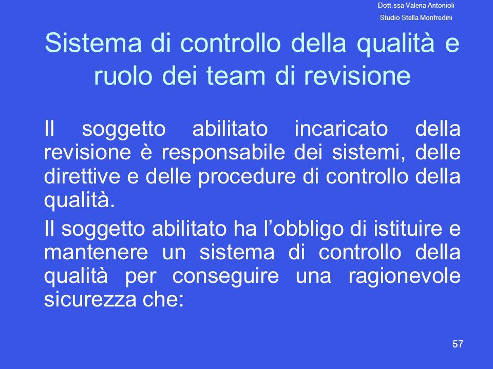 Sistema di controllo della qualità e ruolo dei team di revisione