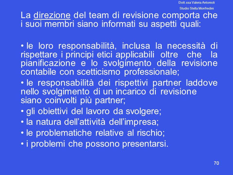 gli obiettivi del lavoro da svolgere;