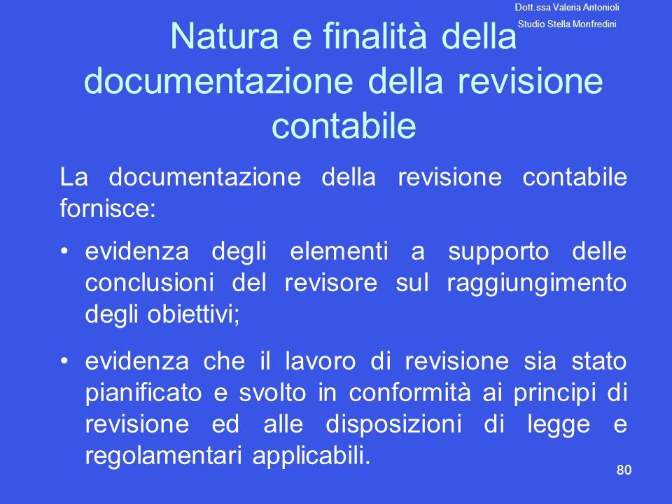Natura e finalità della documentazione della revisione contabile