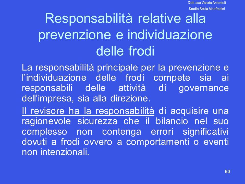 Responsabilità relative alla prevenzione e individuazione delle frodi