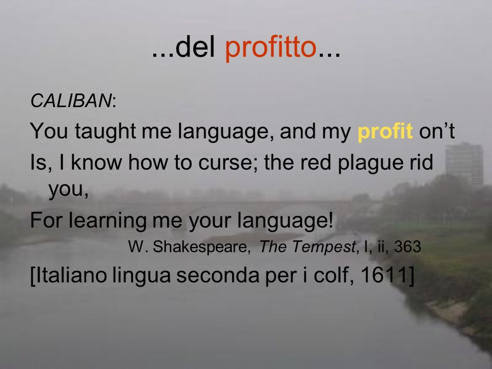 ...del profitto... You taught me language, and my profit on't