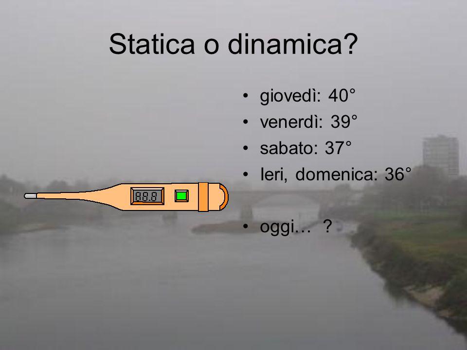 Statica o dinamica giovedì: 40° venerdì: 39° sabato: 37°